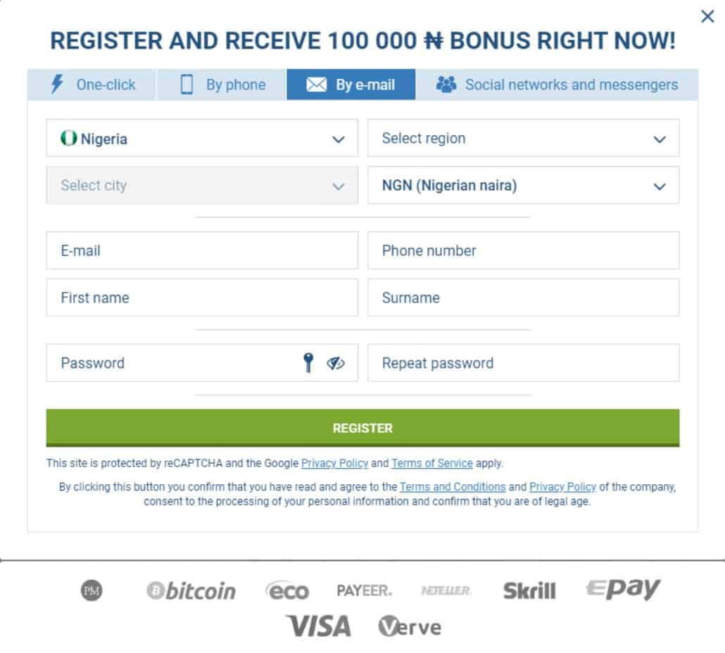 registering with e-mail on 1xbet