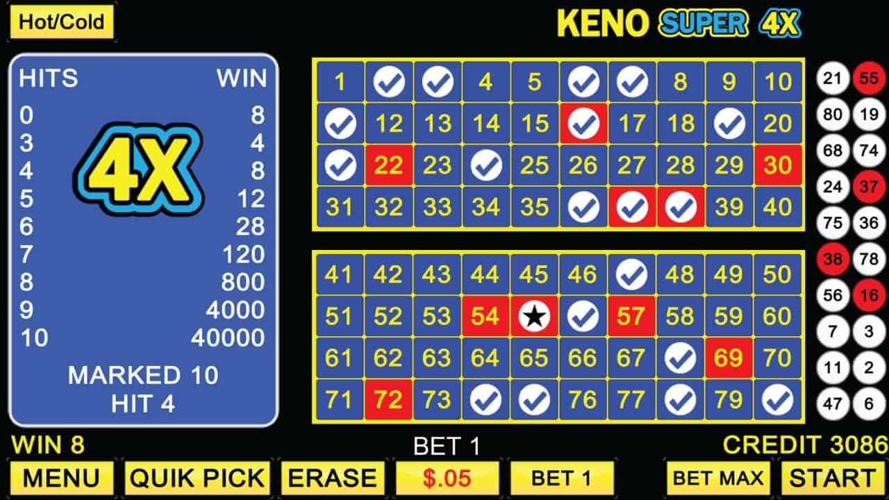Video Keno casino game