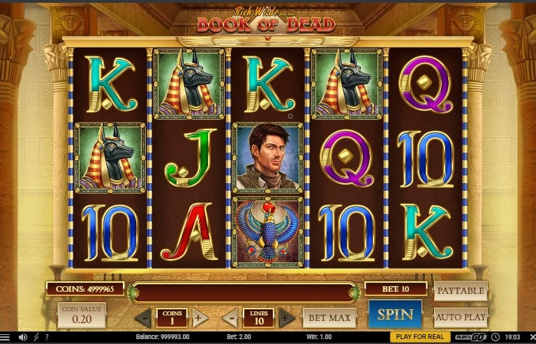 Book of Dead slot game graphical interface
