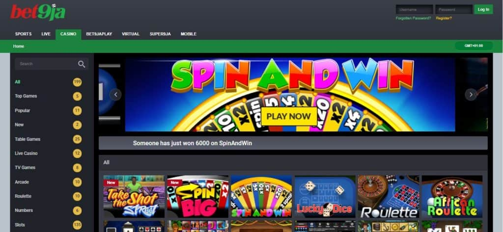 Bet9ja casino website