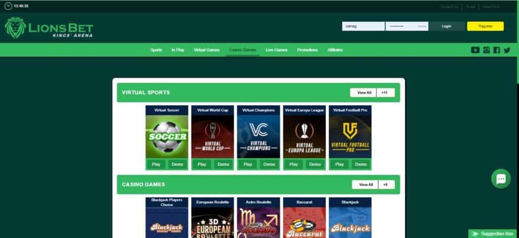 Lionsbet casino website